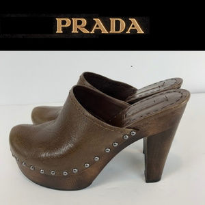 Prada luxury Leather Platform Clogs 40 US 10